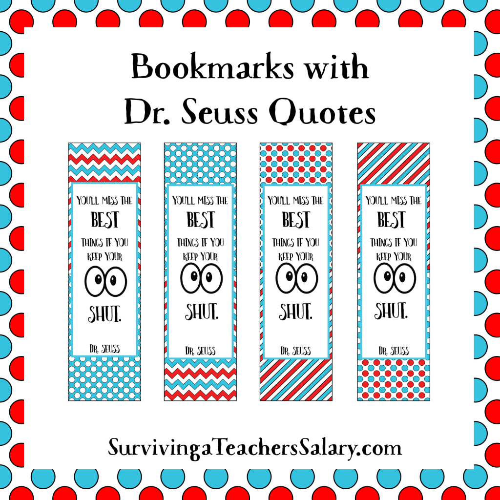 Dr Seuss Printable Reading Log Bookmarks And Award