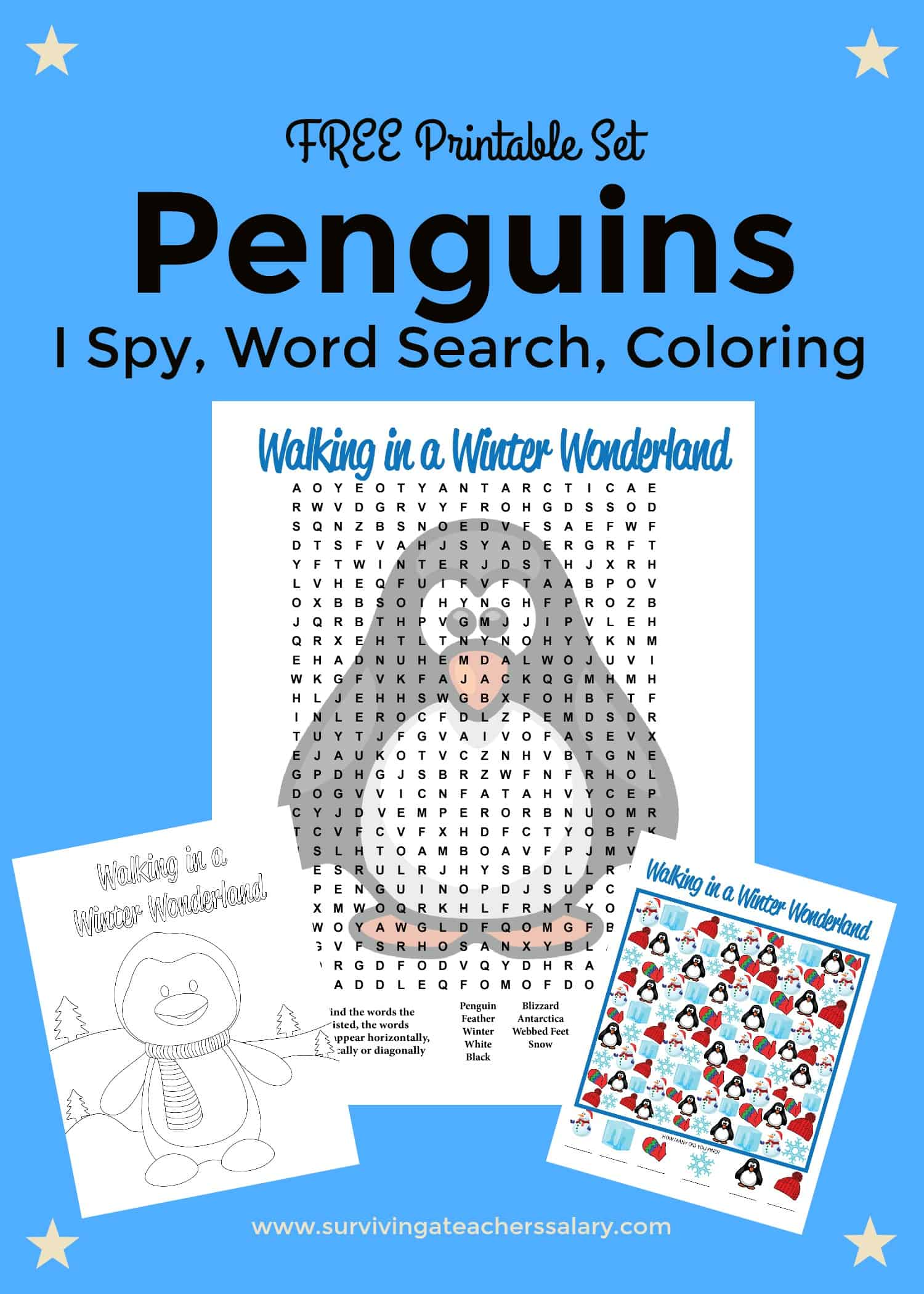Free Printable Penguins Worksheets Coloring Sheet Word Search I Spy