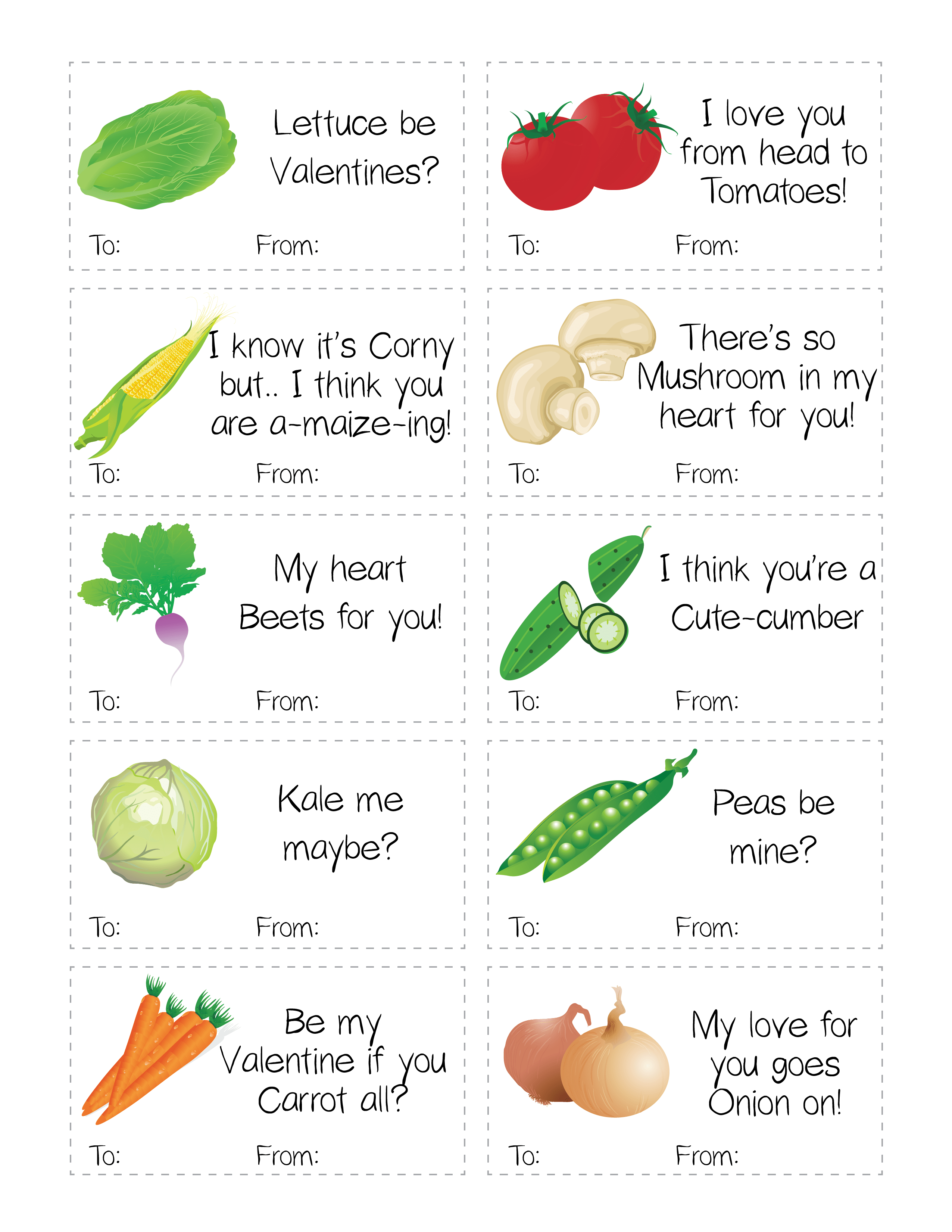 Funny Healthy Fruit Amp Vegetable Valentine S Day Printable