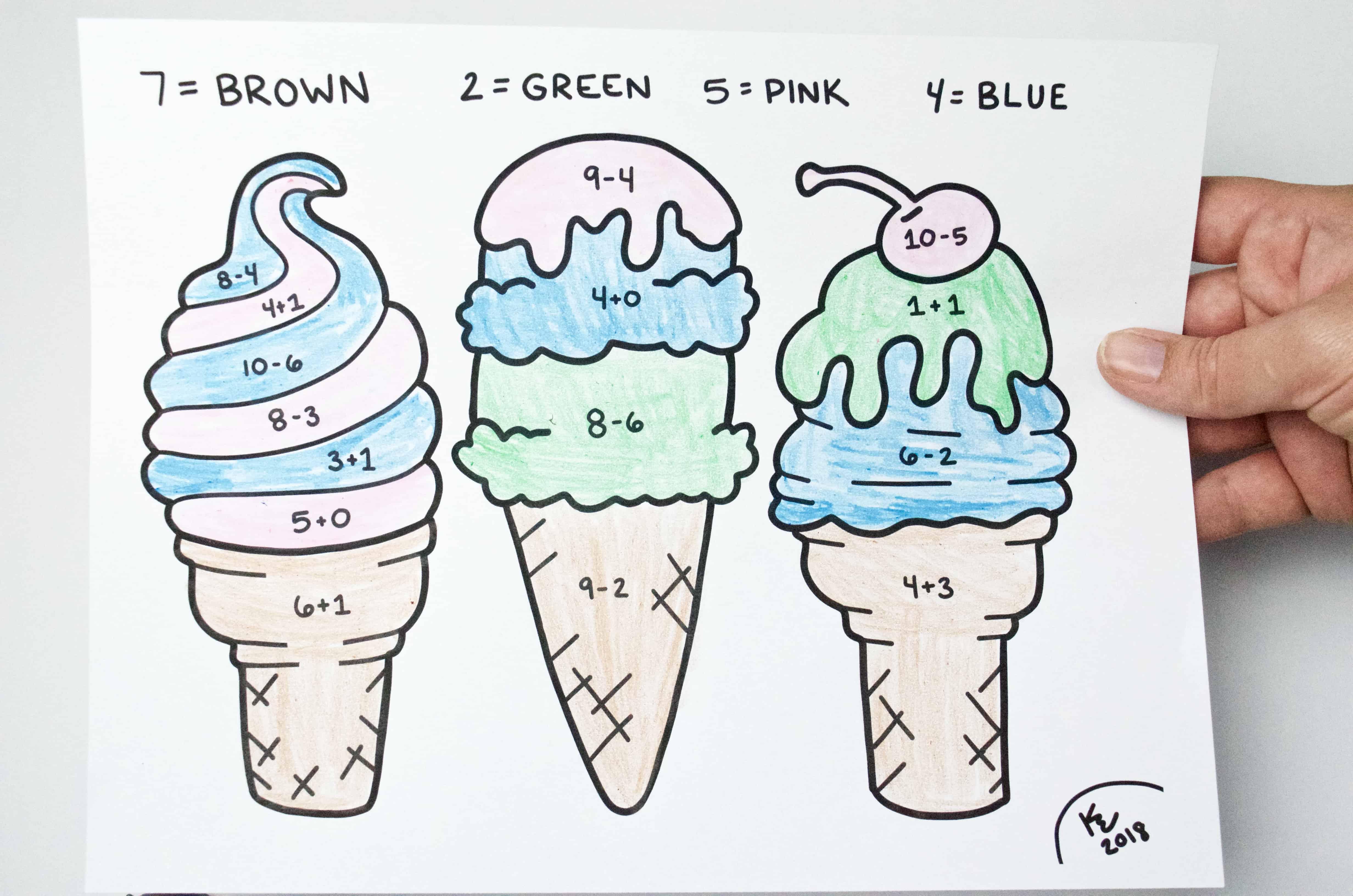 Free Printable Summer Ice Cream Math Worksheet