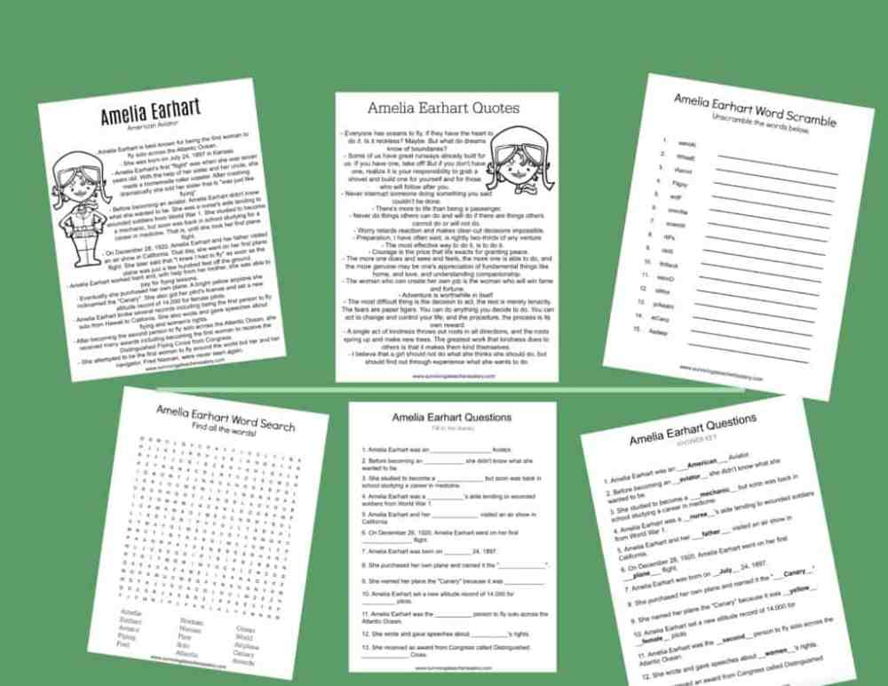 medium resolution of All About Amelia Earhart Worksheets \u0026 Activities for Kids