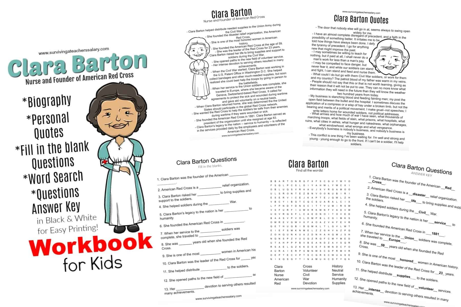 hight resolution of All About Clara Barton Printable Worksheets \u0026 Activities for Kids