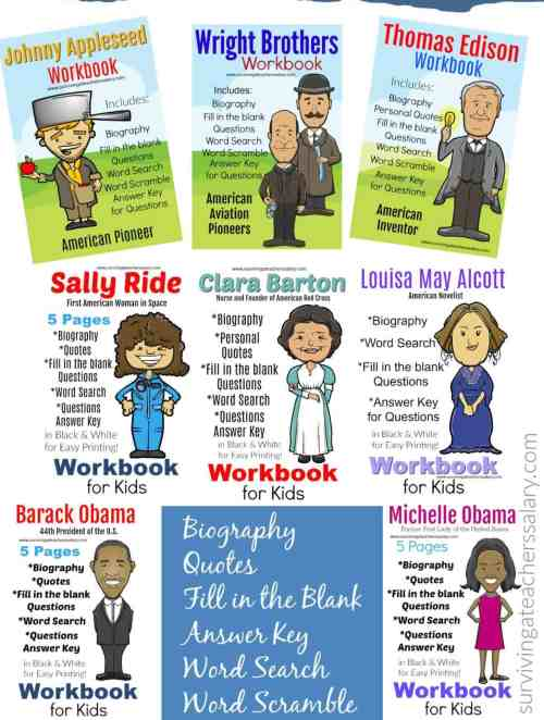 small resolution of 11 Famous People in History Workbook - Presidents