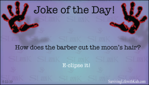 How does the barber cuts the moons hair?