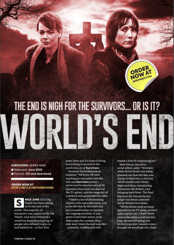 Vortext feature on Survivors series 9 audios from Big Finish