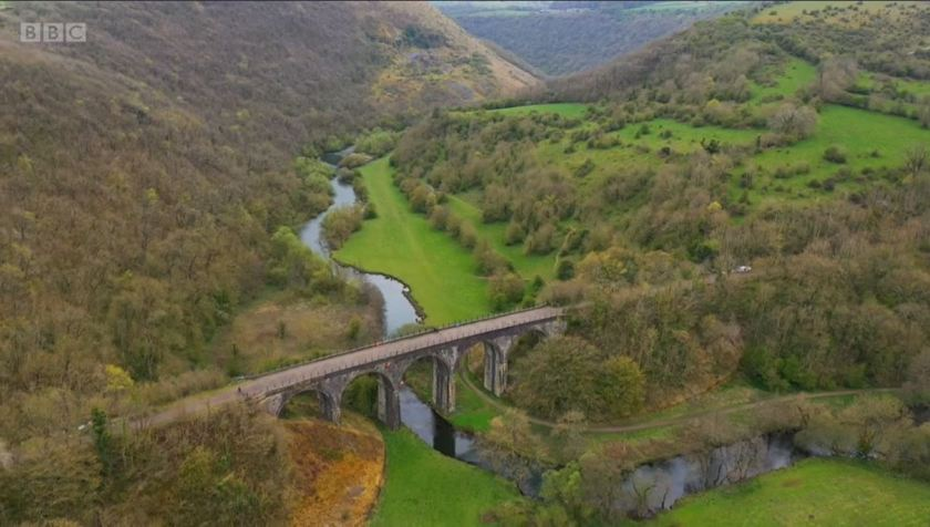 Countryfile - White Peak - May 2021 - An aerial view of the Monsal Dale viaduct