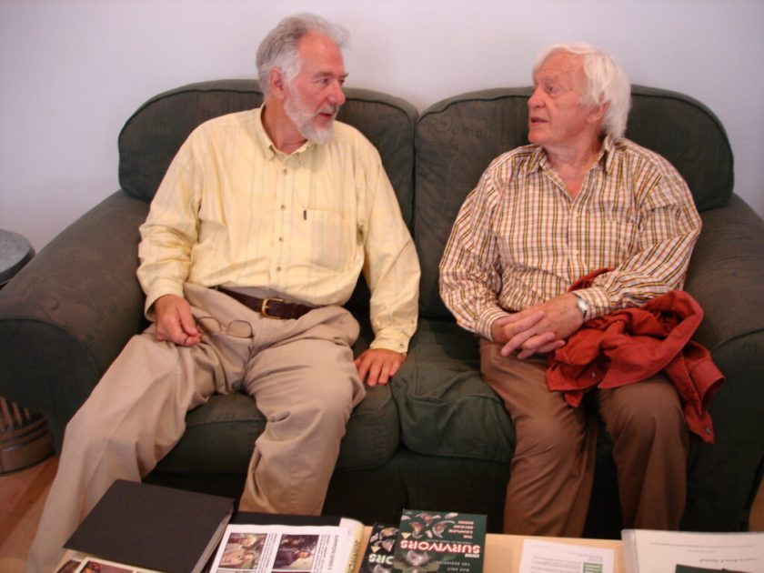 Tristan de Vere Cole and Morris Perry at the Survivors series three DVD special features studio day in 2005