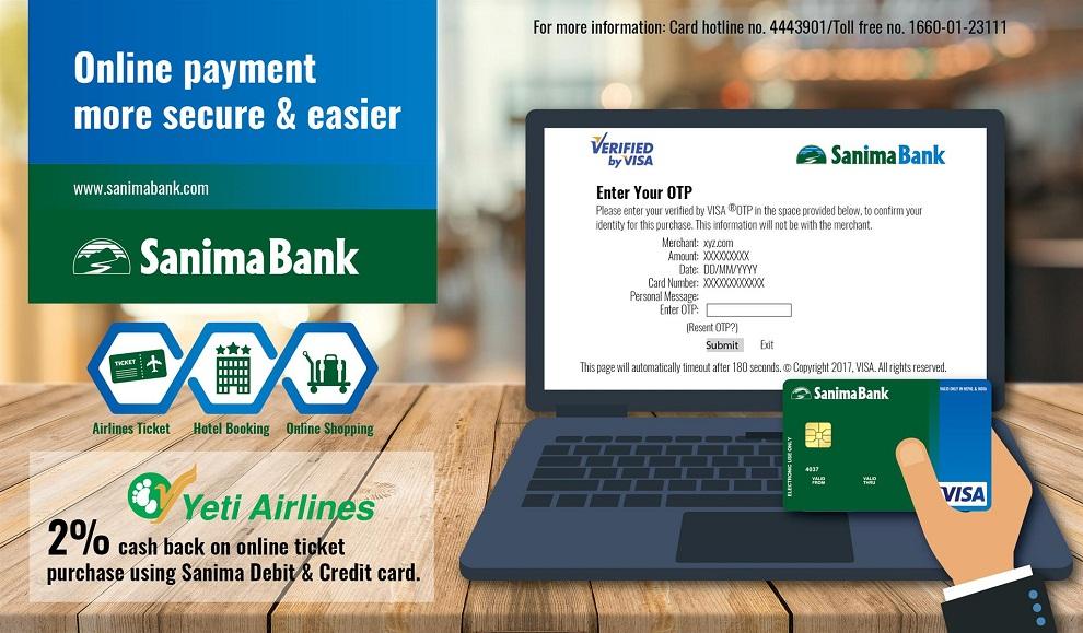 सानिमा बैंकद्धारा VISA card  अनलाईन पेमेट सुरु