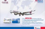मेगा बैंकका कार्ड प्रयोगकर्तालाई कतार एयरवेजको १० प्रतिशत छुट