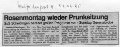 Karneval 1995 Westfalenpost 22.02.1995