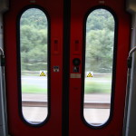 train doors from the inside looking out