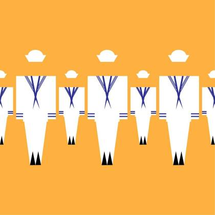 stylized drawing of sailor uniforms