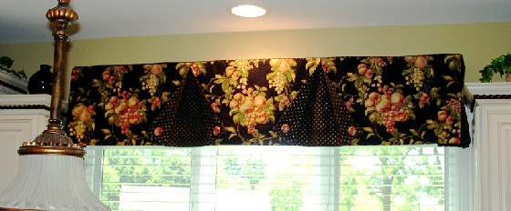 A button back valance over the kitchen sink  Susans Designs