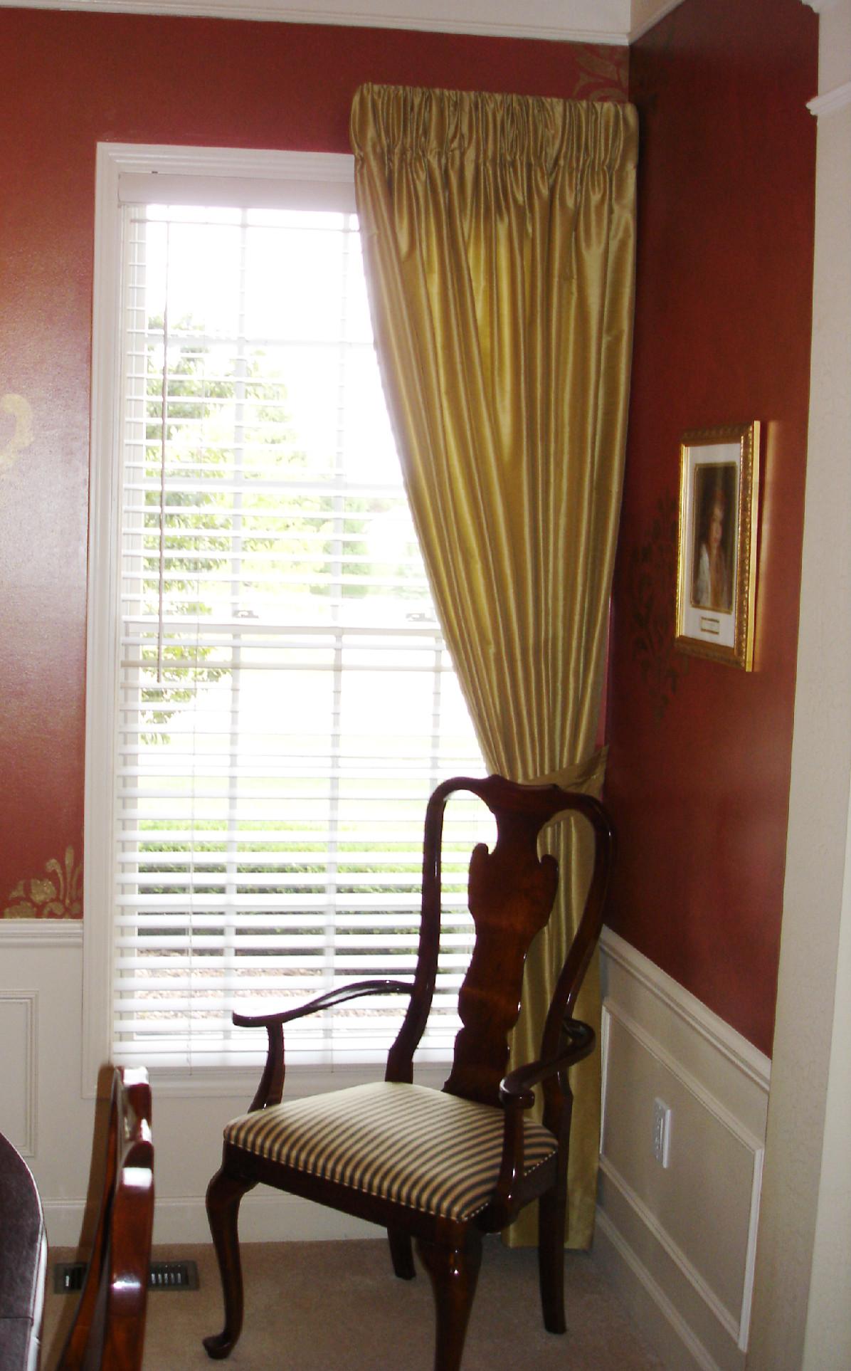 Golden drapery panels  Susans Designs