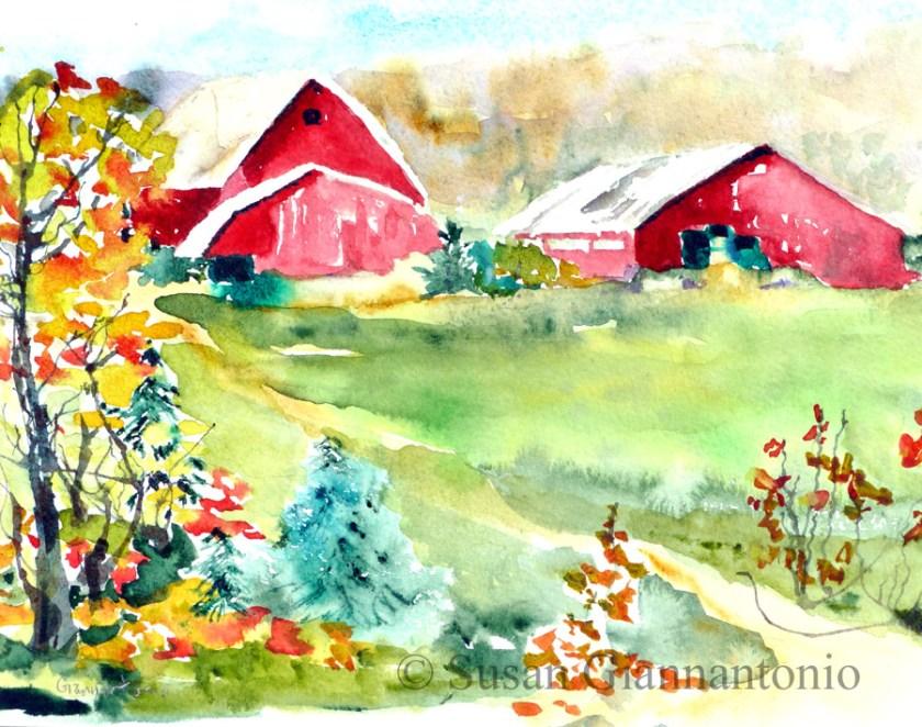 """Sherman Farm sketch, 8 x 10"""" watercolor on paper"""