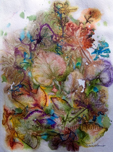 "Debbie's Garden, 15 x 11"" transparent watercolor on paper"