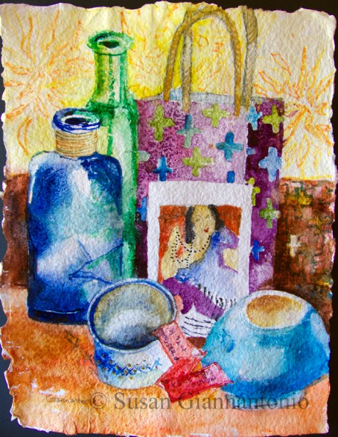 "Matisse on Shizen, 12 x 9.5"" transparent watercolor on Shizen rough paper"