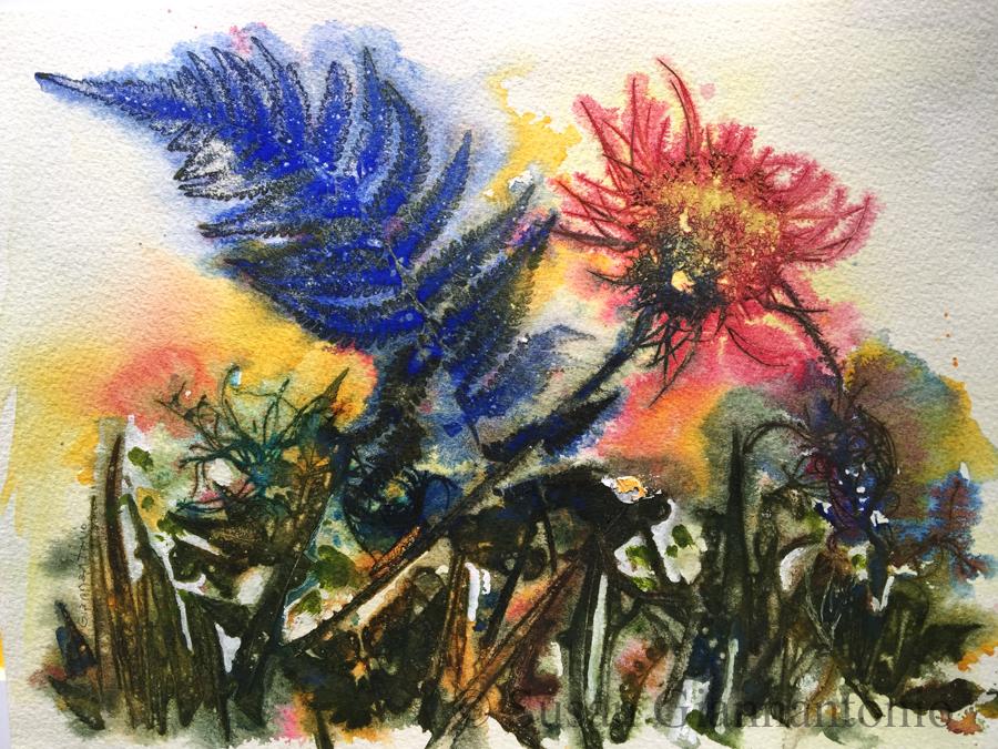 "Queen Anne Trip, 12 x 16"" watermedia botanical on paper"