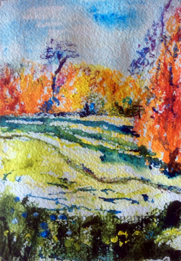 "After Monet Meadodw at Giverny, 10 x 8"" watercolor on paper"