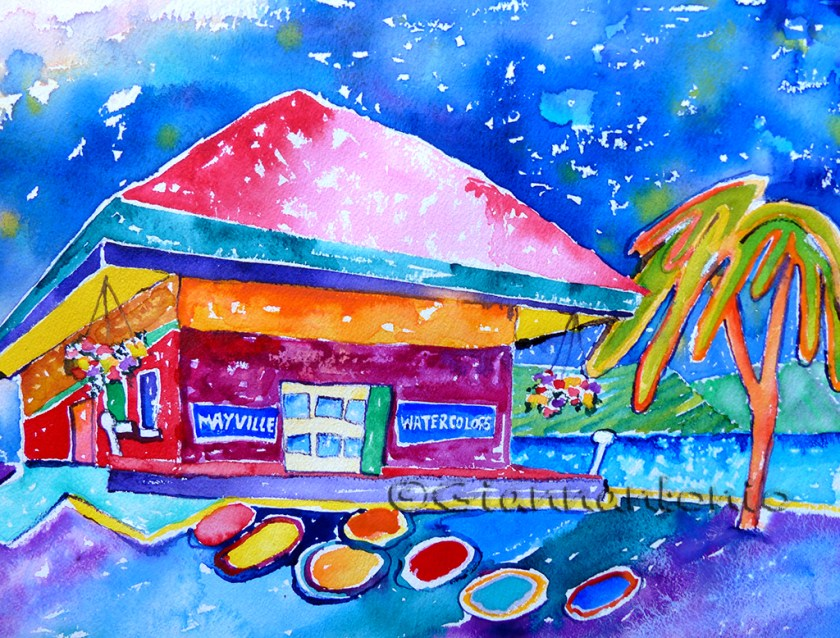"""Depot Whimsy, 11 x 14"""" transparent watercolor"""