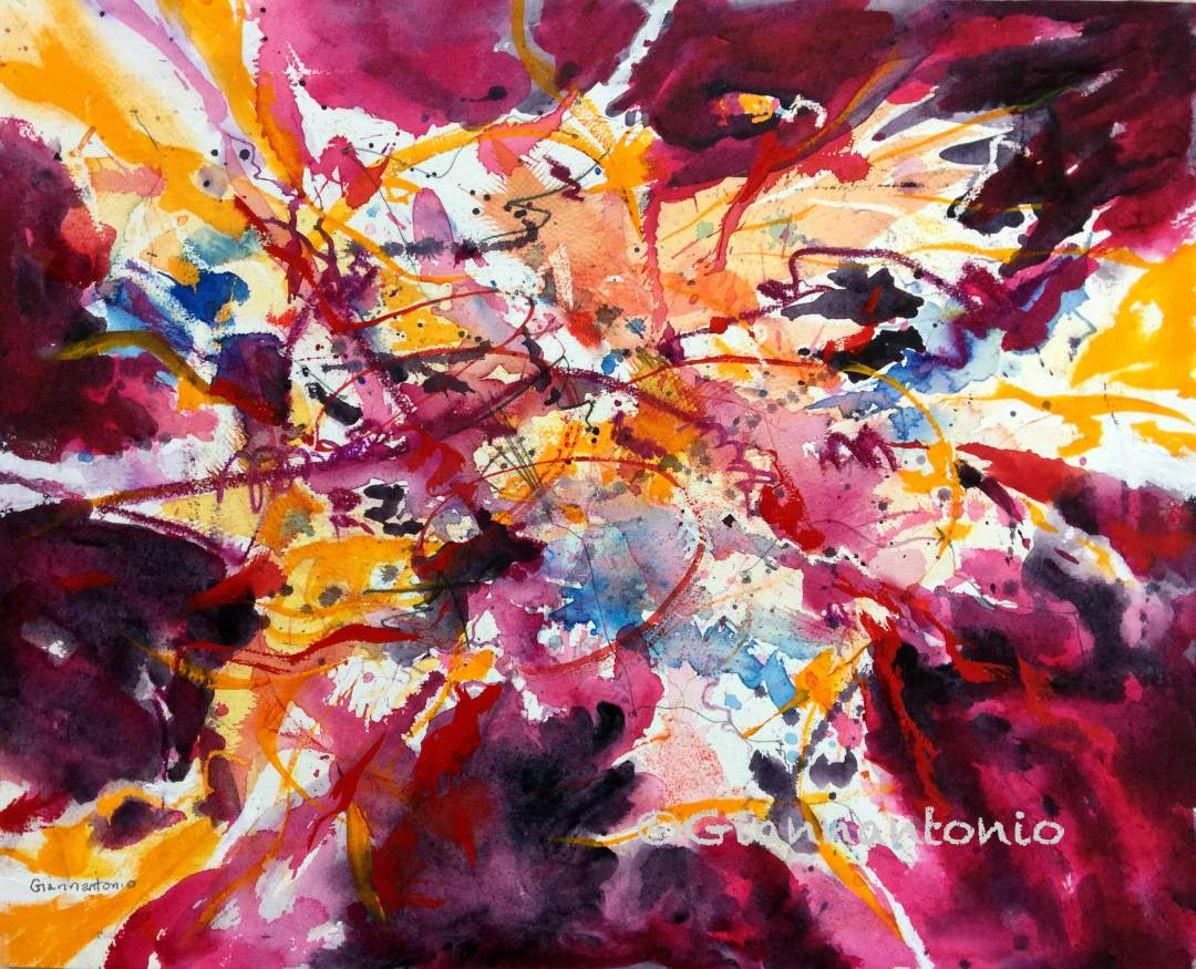 "Chihuly Stella Confluence, 16 x 20"" transparent watercolor, graphite and wax on d'Arches watercolor board"
