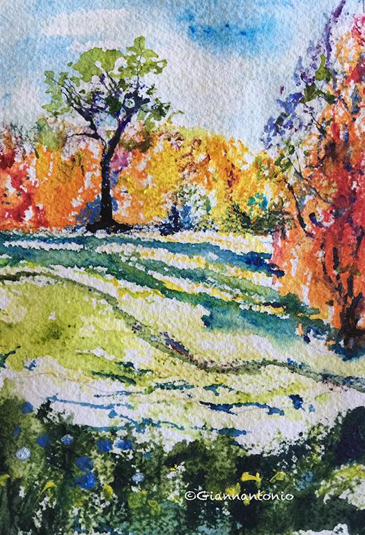 """Landscape Contour Sketch, 10 x 8"""" watercolor on rough paper"""