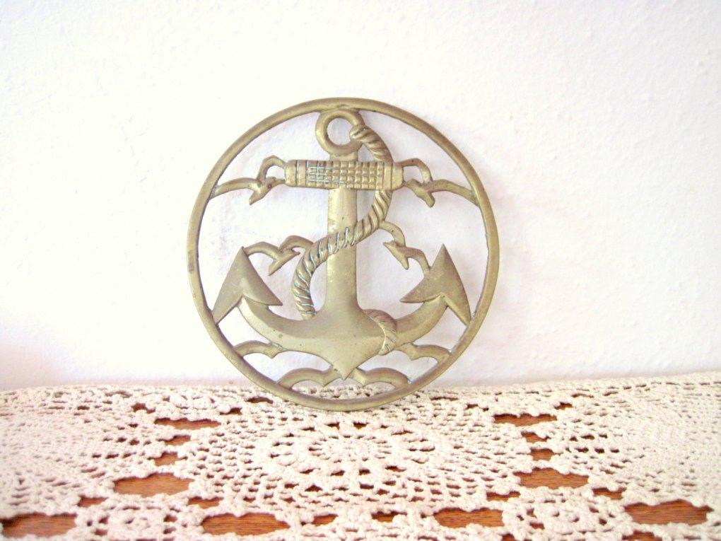 Vintage Brass Anchor Trivet, Etsy