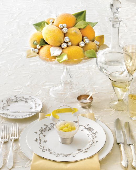 Glittered Faux Lemons and Velvet Leaves, Martha Stewart