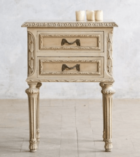 Vintage Single Nightstand in Creamy White Finish. The Bella Cottage