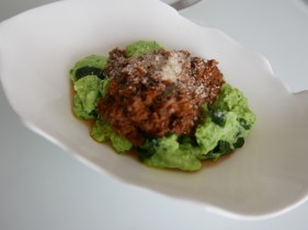wild garlic ricotta gnocchi with wild boar ragu. So delicious!