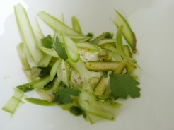 fresh cheese with shaved asparagus