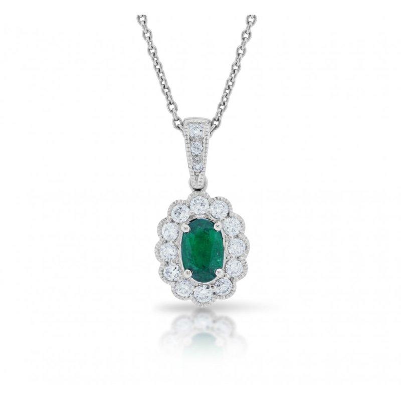 18ct gold oval emerald diamond cluster pendant