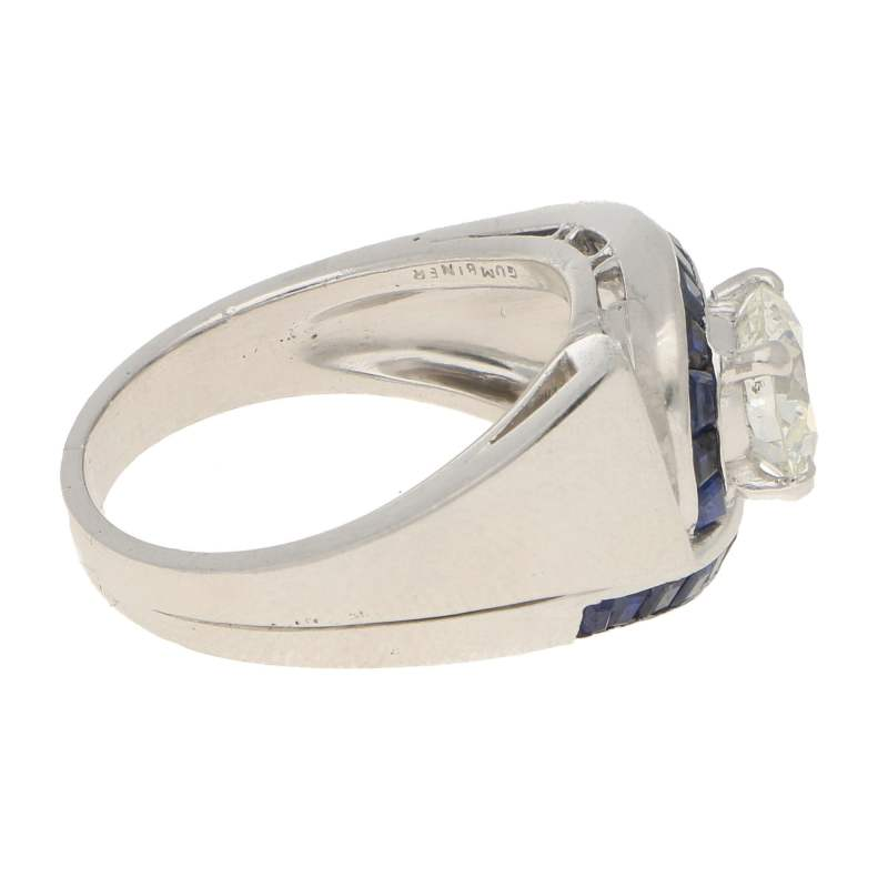 Oscar Heyman for Gumbiner Art Deco Diamond Sapphire Twist Ring