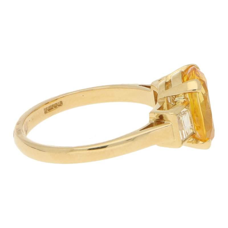 Vintage Yellow Sapphire and Diamond Three-Stone Ring Yellow Gold