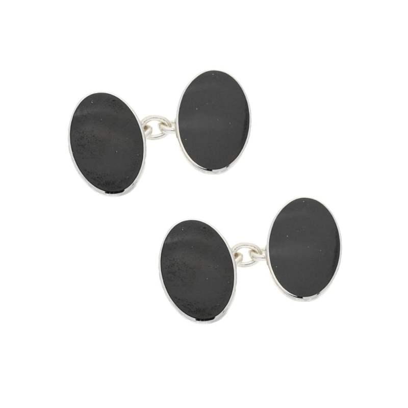 Silver black enamel cufflinks