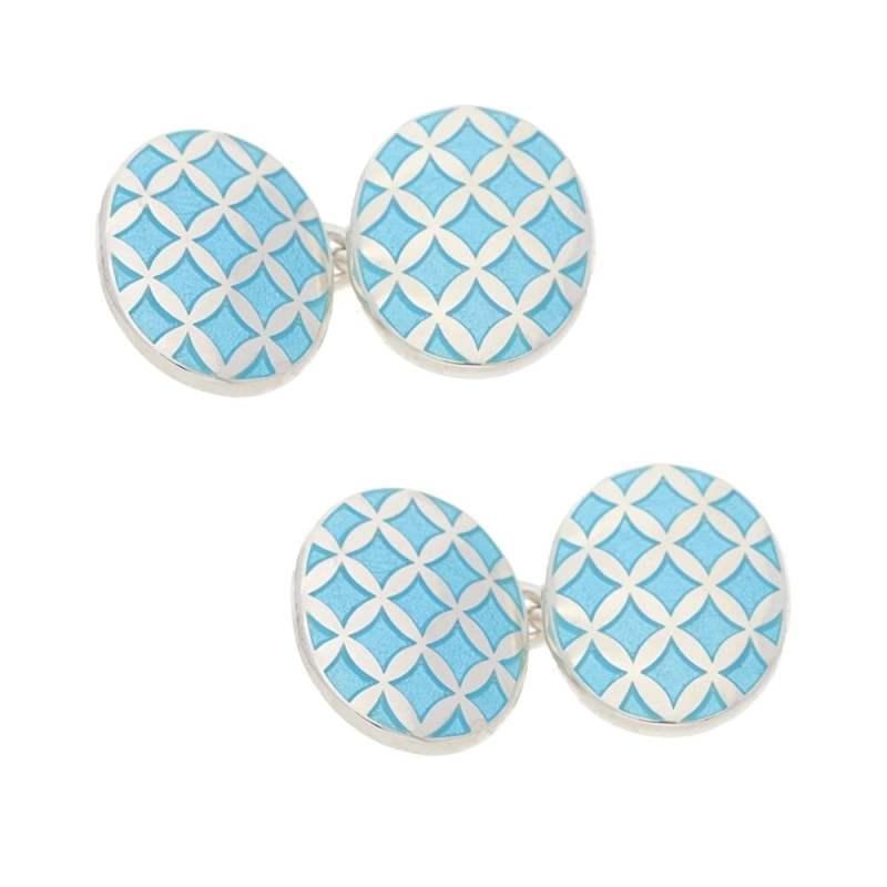 Blue enamel criss cross cufflinks