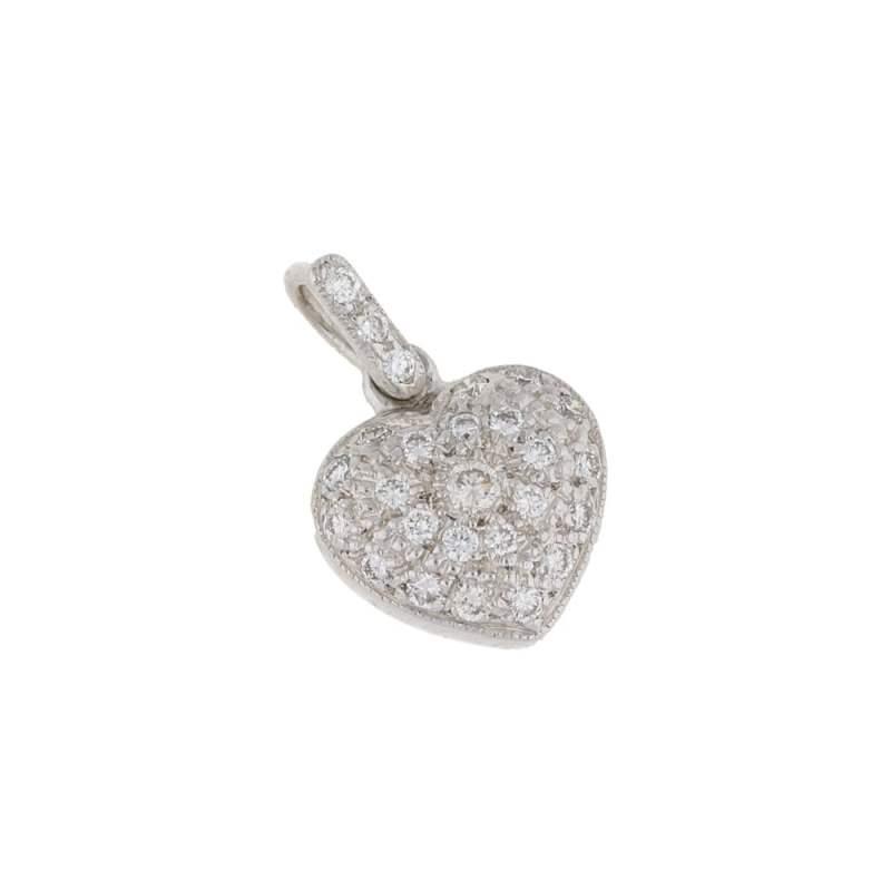18ct gold pave diamond set heart pendant