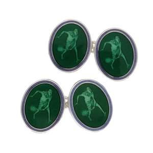 Tennis cufflinks in green enamel