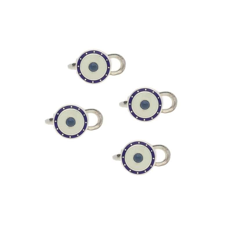 Four enamel sapphire studs in silver