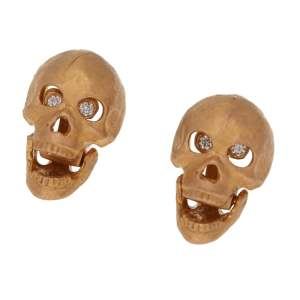 Skull Earrings with Diamond Eyes