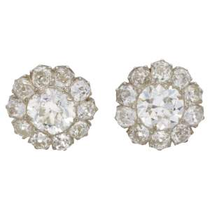 Victorian diamond cluster stud earrings