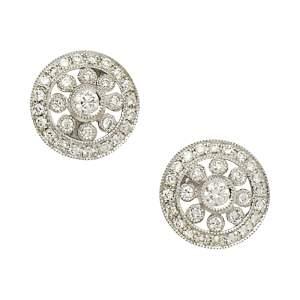 18ct gold pierced openwork diamond circlet earrings