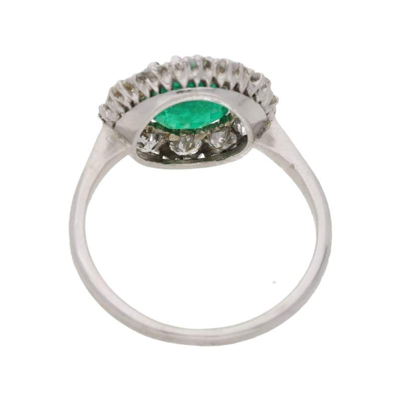 Platinum emerald diamond cluster engagement ring