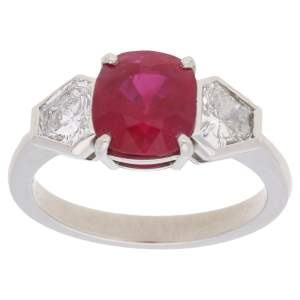 Ruby Diamond Three Stone Engagement Ring