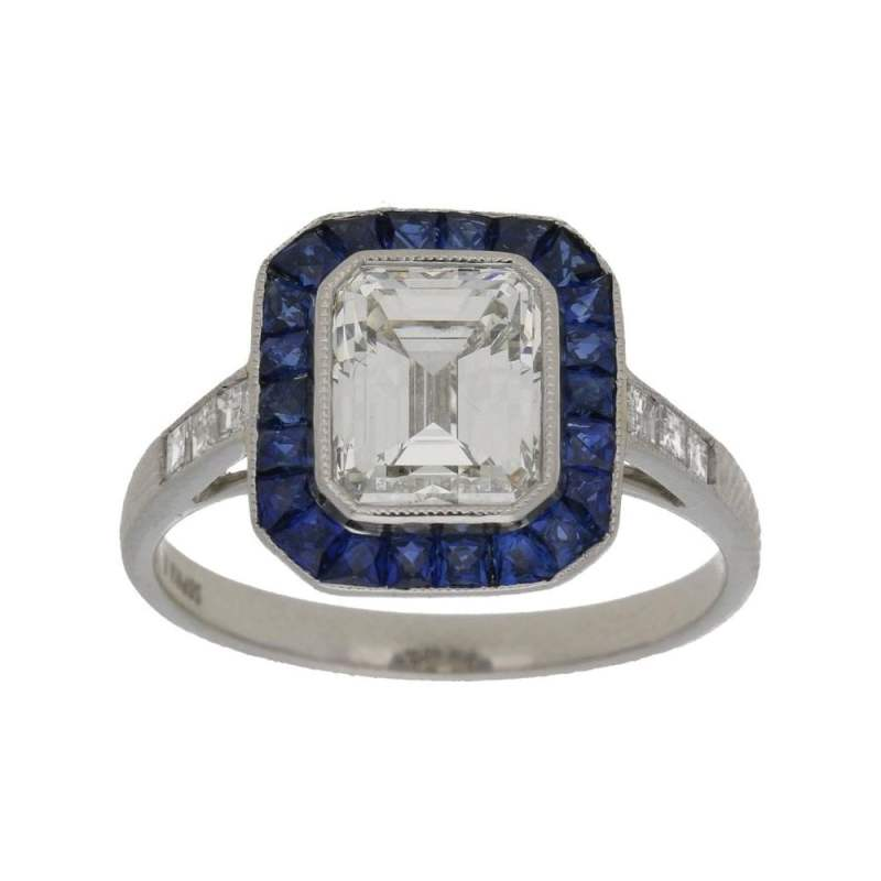 Emerald Cut Diamond and Sapphire Target Engagement Ring Platinum