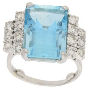Art Deco Inspired Aquamarine and Diamond Cocktail Ring
