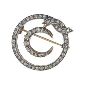 Victorian diamond crescent moon brooch