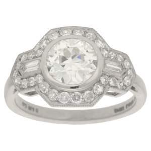 Art Deco Style Diamond Engagement Ring in Platinum