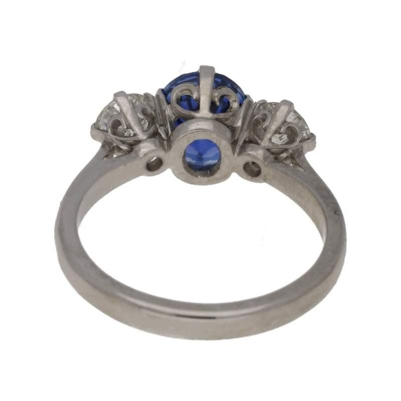 Sapphire diamond three stone ring