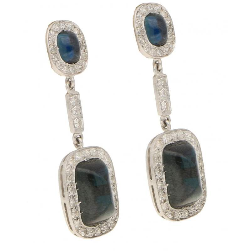 Sugarloaf Sapphire and Diamond Cluster Drop Earrings White Gold